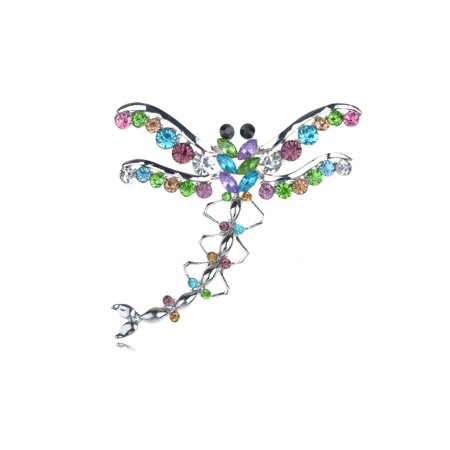 Large Austrian Crystal Rhinestone Colorful Dragonfly Fashion Costume Pin - Dragonfly Nightclub Halloween
