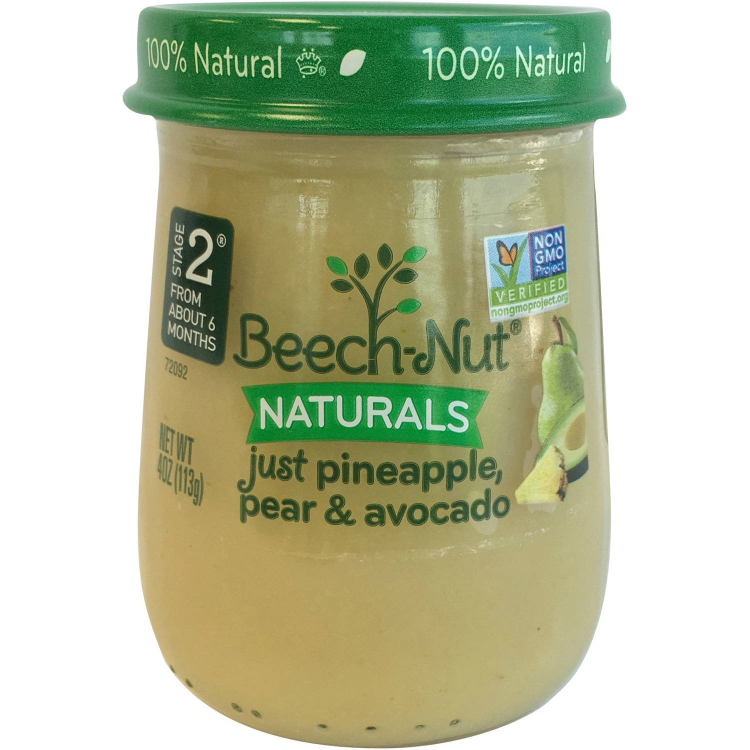 Beech-Nut Naturals Just Pineapple, Pear & Avocado Stage 2 Baby Food, 4.0 oz, (Pack of 10)