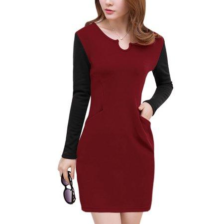 Women Split Neck Pockets Front Soft Lining Sheath Dress Red M
