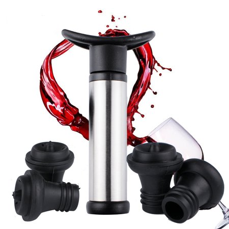 Wine Saver Pump - Reactionnx Vacuum Wine Saver Set, Pump Preserver with 4 Vacuum Wine Stoppers for Red / White / Beer Wine, Stainless Steel, Keep Wine Fresh and Flavorful, Black