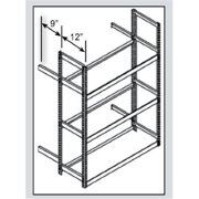 Hallowell TSS6021120-4S Rivetwell, Single Row, Tire Storage Shelving 60 in. W x 21 in. D x 120 in. H 729 Parchment 4 Levels