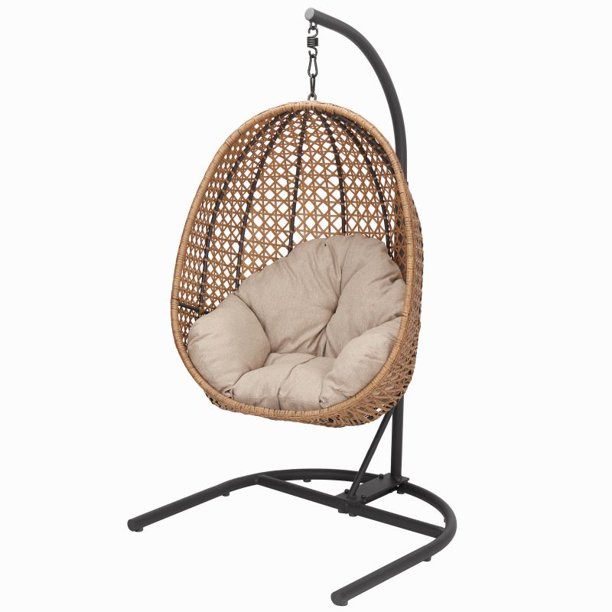 Better Homes Gardens Lantis Patio Wicker Hanging Chair With Stand And Beige Cushion Walmart Com Walmart Com