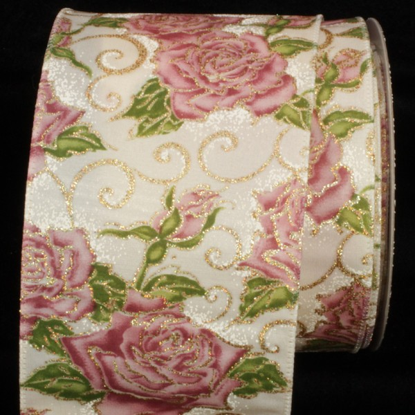 Cabbage Roses wire edged Offray Ribbon 10 YARDS Vintage Ribbon