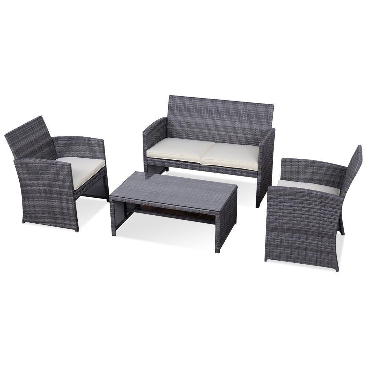 4 pcs Outdoor Rattan Sofa Furniture Set Black by