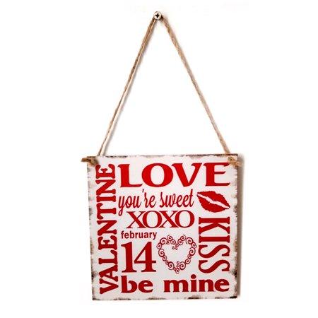 Valentine Door Decoration Ideas (Vintage Style Wooden Wall Hanging Decoration Board Handmade Rustic Signs Door Ornaments Plaque Hanger Holiday Valentine)