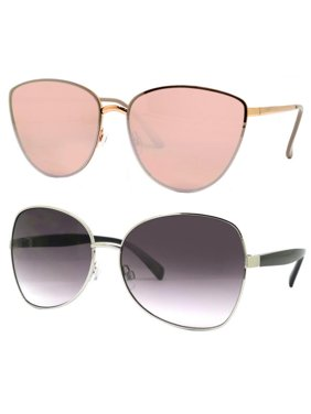 3aa24a3bbb28 Product Image Time and Tru Women's Metal Sunglasses 2-Pack Bundle: Square  Sunglasses and Cat-