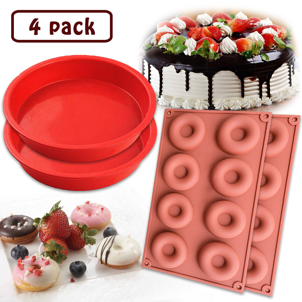 [4 Pack] Donut Silicone Baking Mold + 7.3''  Round Bread Cake Baking Mold,IClover Non-Stick Food Grade Muffin Cups Cake Biscuit Cookie Candy Mold Pan for Making Jello Candy Cheesecake Brownie