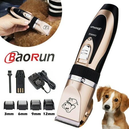 Baorun Professional Low Noise Grooming Kit Animal Pet Cat Dog Cordless Hair Trimmer Clipper Shaver Set Kit Dog Hair Trimmers