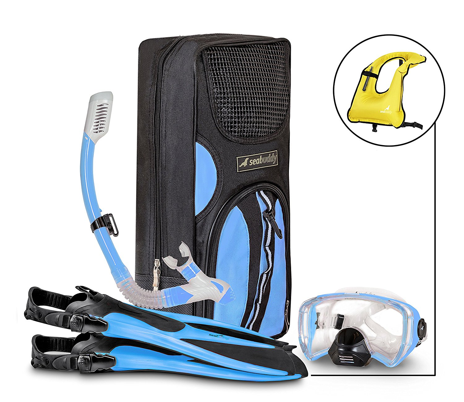SealBuddy FIJI Panoramic Snorkel set + Premium Travel Gear Bag ~ Vest Included by Sealbuddy