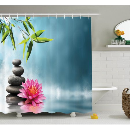 Spa Decor Shower Curtain Set, Spa Theme Picture With Lily Lotus Flower And  Rocks Yoga