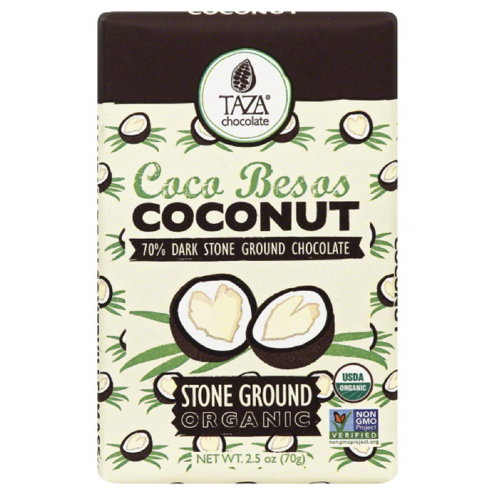 Taza Coconut Organic Stone Ground Dark Chocolate, 2.5 Oz (Pack of 10)