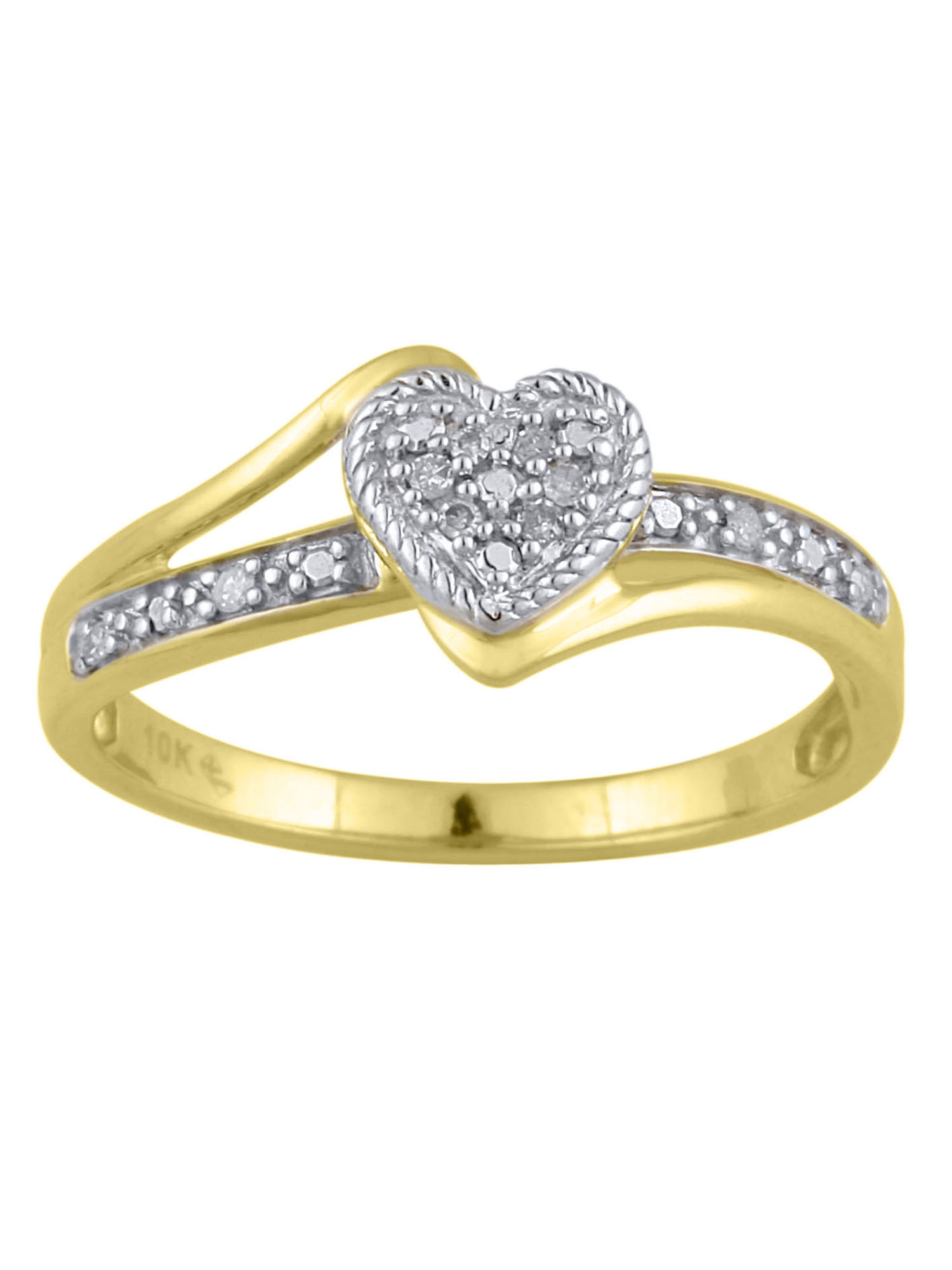 09d1ccc0afcc5 Diamond Accent 10kt Yellow Gold Heart Promise Ring