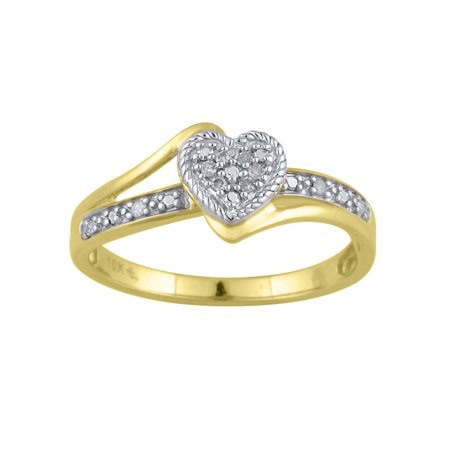 d6b18f7579983c HOLD MY HAND - Diamond Accent 10kt Yellow Gold Heart Promise Ring ...