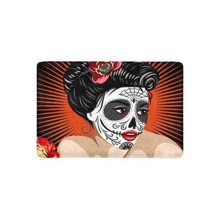 MKHERT Halloween Mexican Girl's Death in Sugar Skull Make-Up Doormat Rug Home Decor Floor Mat Bath Mat 23.6x15.7 inch - Halloween In Mexico