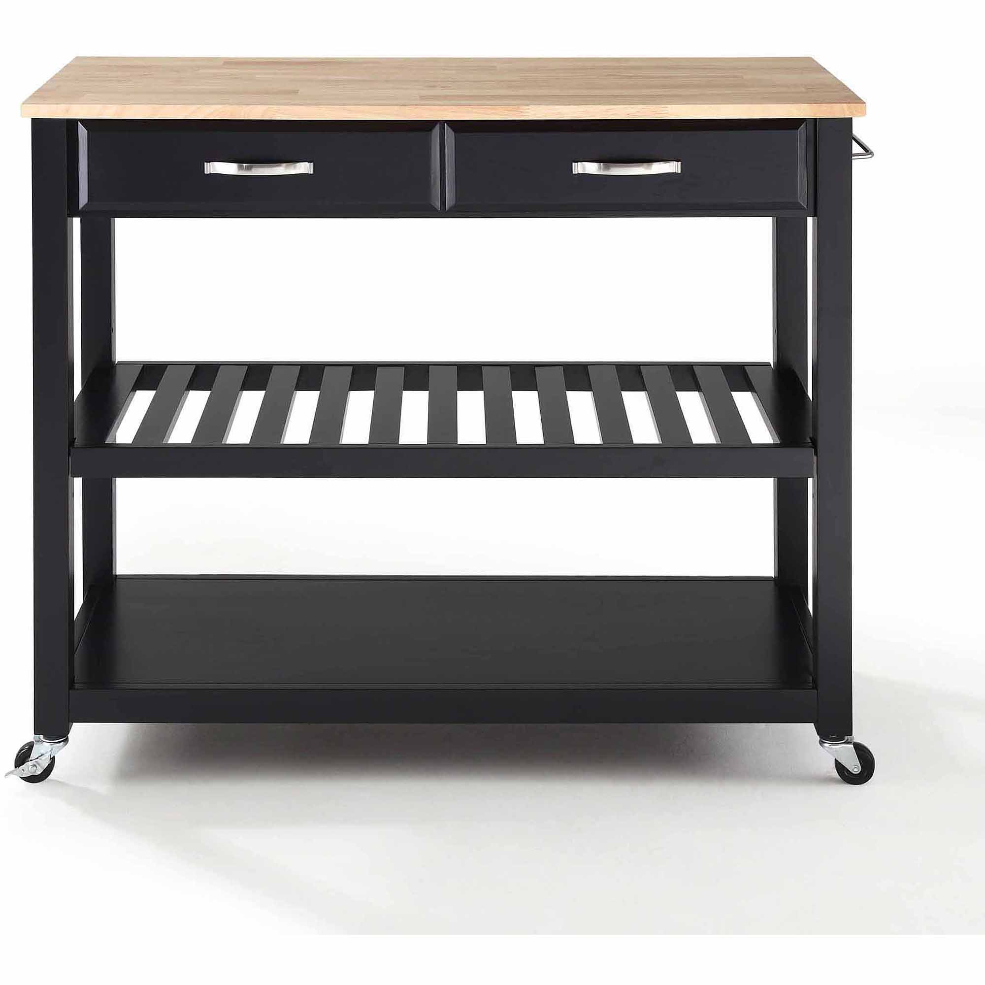Crosley Furniture Natural Wood Top Kitchen Cart with Optional Stool Storage