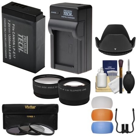 - Essentials Bundle for Canon EOS Rebel T6i, T6s Cameras & 18-55mm Lens + LP-E17 Battery & Charger + Tele/Wide Lenses + 3 Filters + Diffusers + Hood Kit