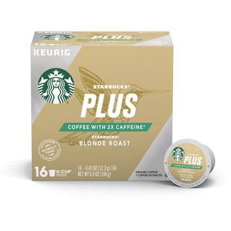 Starbucks Plus Coffee Blonde Roast 2X Caffeine Single Cup Coffee for Keurig Brewers, One Box of 16 (16 Total K-Cup