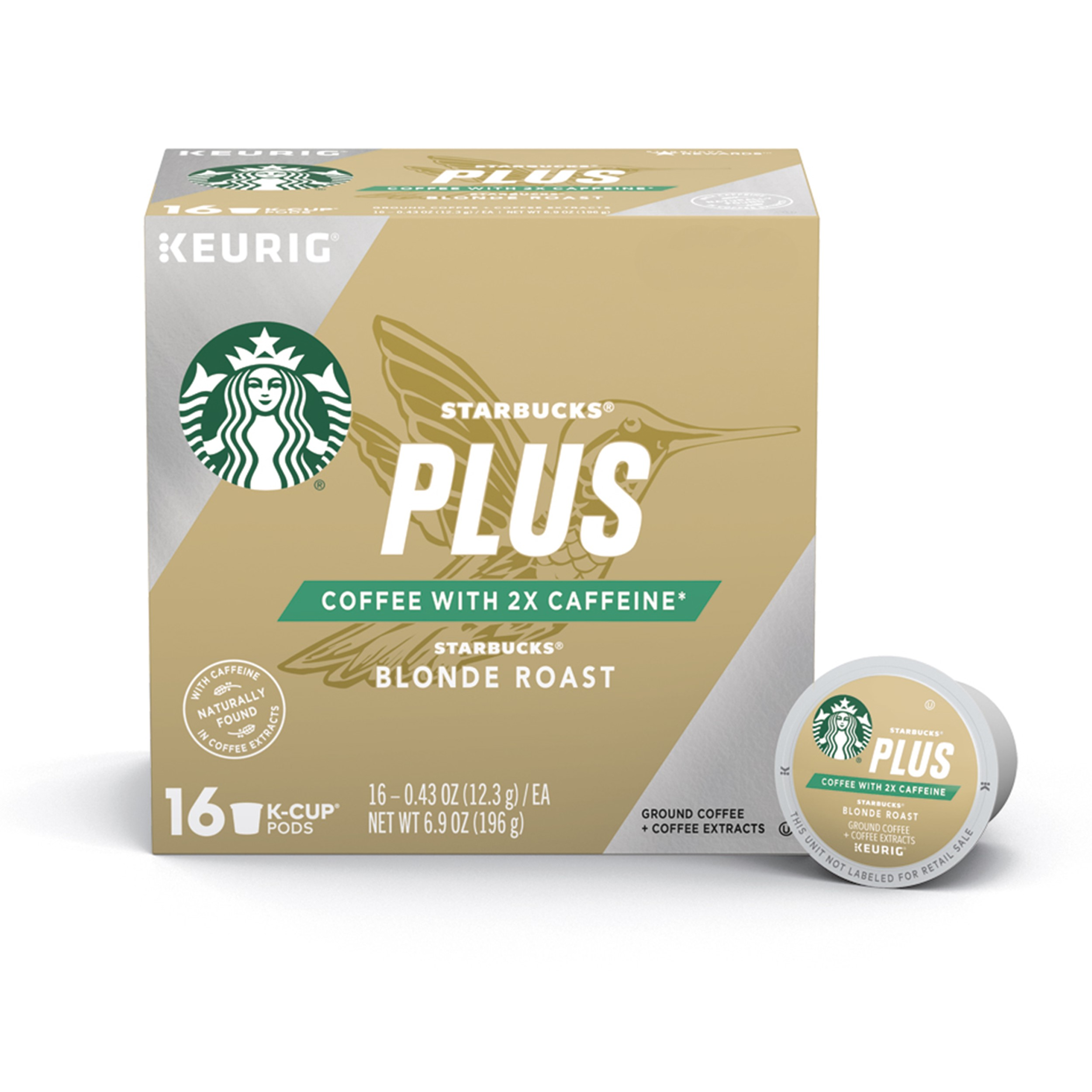 Starbucks Plus Coffee Blonde Roast 2X Caffeine Single Cup Coffee for Keurig Brewers, One Box of 16 (16 Total K-Cup Pods)