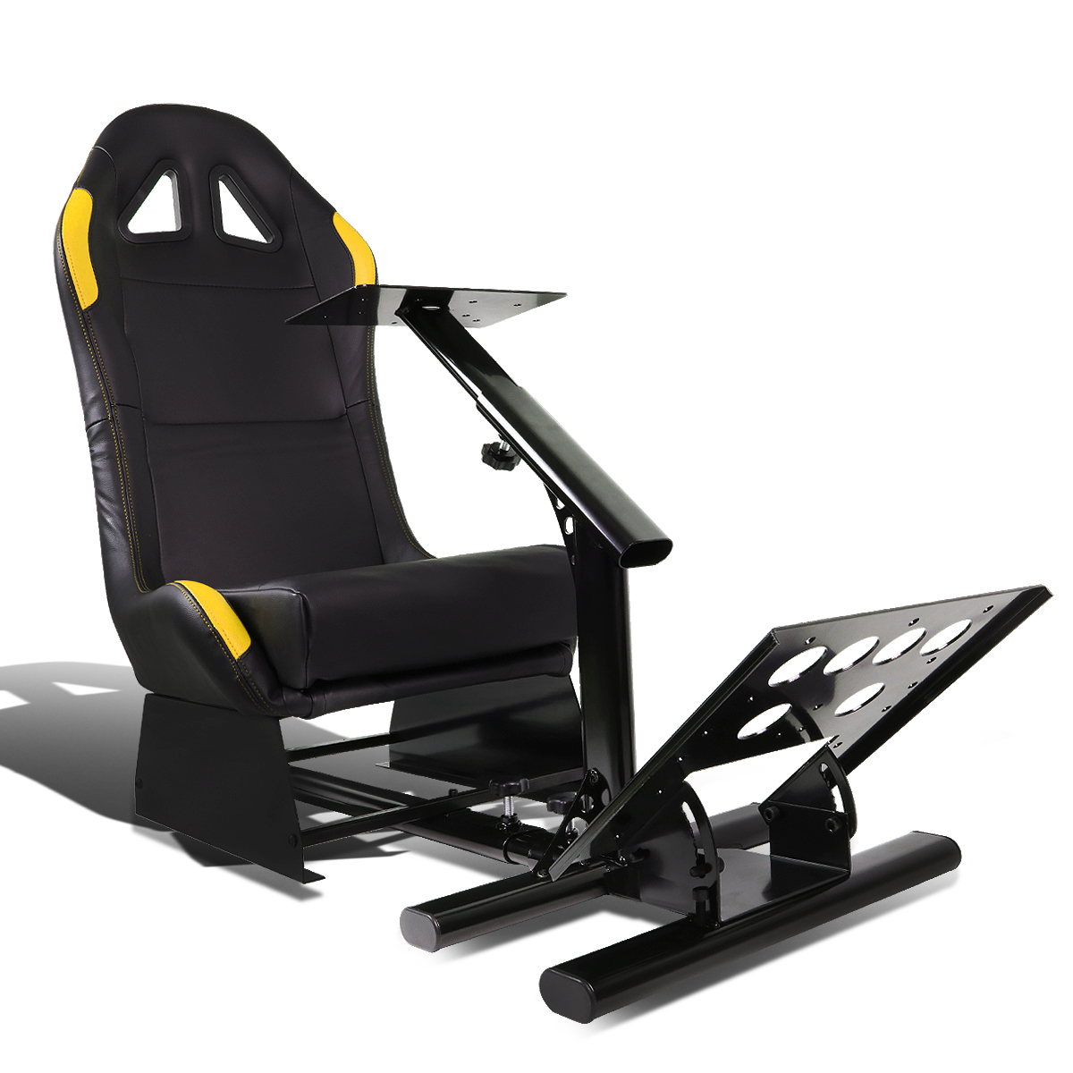 Racing Seat Driving Simulator Cockpit Adjustable Gaming Chair + Steering Wheel / Pedal / Gear Shifter Mount (Yellow)