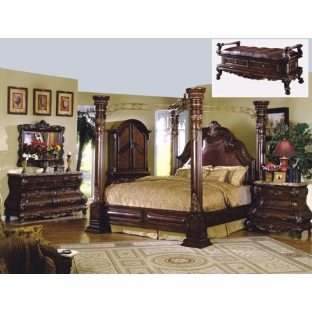 Mcferran RB9088 Monaco Dark Cherry Finish Canopy Eastern King Bedroom Set 3  Pcs