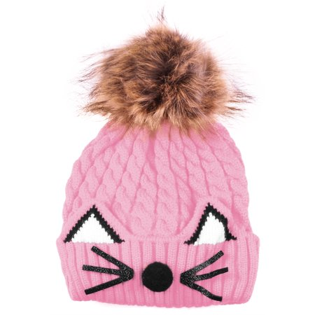 Enimay Kids Baby Toddler Cable Knit Children s Pom Winter Hat Cat Beanie  Pink One Size cb8dc4c9400