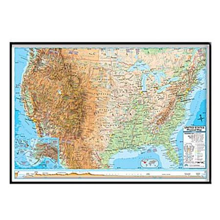 Universal Map 16167 United States Advanced Physical Mounted   Black Framed Map