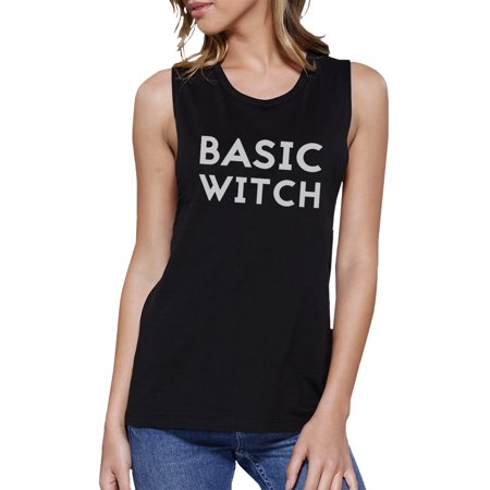 Basic Witch Muscle Tank Top For Women Funny Halloween Tanks Black](Funny Halloween Witch Pics)