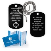 Anodized Aluminum Medical Alert ID Dog Tag.  Incl. Custom Engraving and Chain!