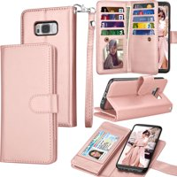 Galaxy S8 Plus Case, S8 Plus Wallet Case, Samsung Galaxy S8+ PU Leather Case, Tekcoo Luxury Cash Credit Card Slots Holder Folio Flip Cover [Detachable Magnetic Case] & Kickstand - Rose Gold