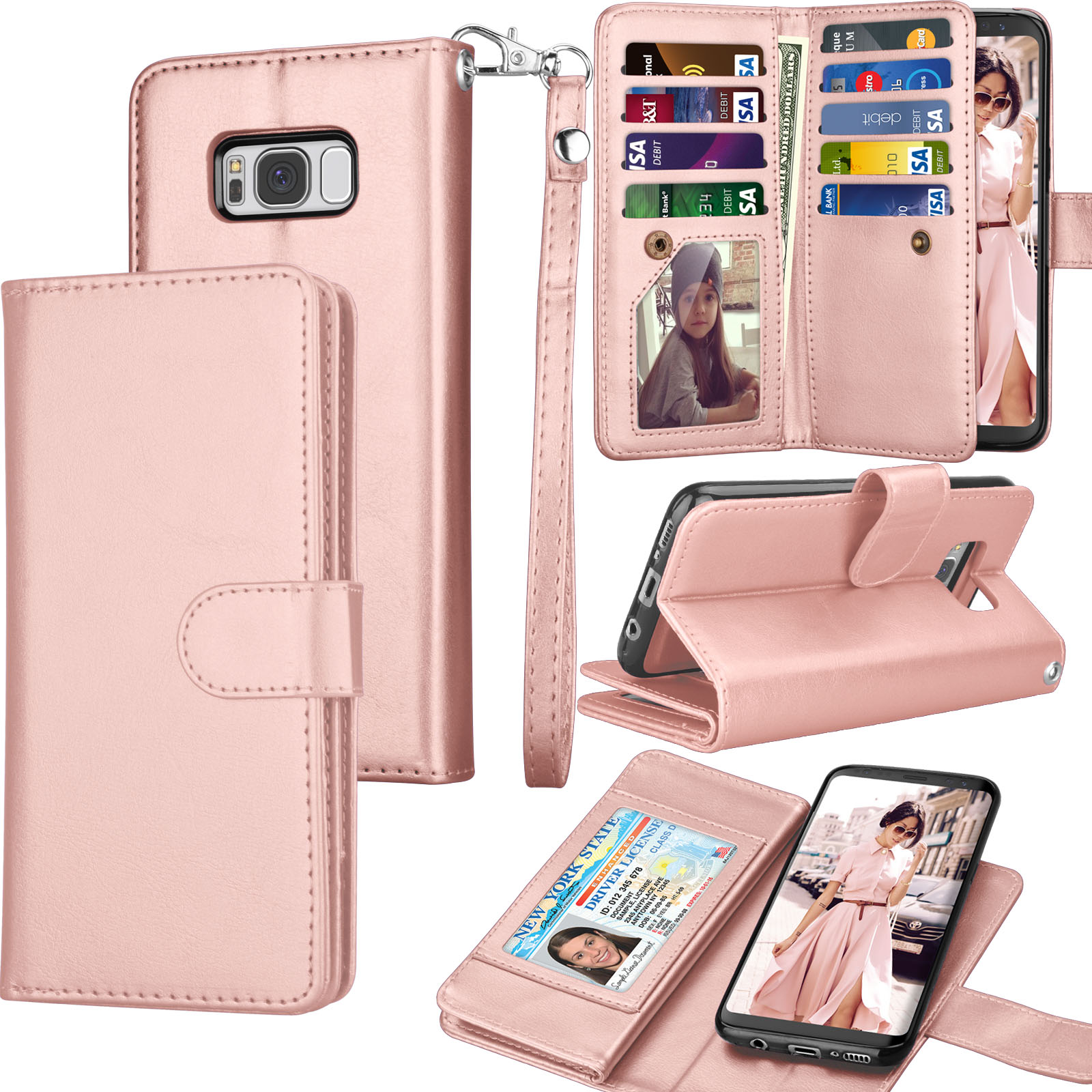 Flip Case for Samsung Galaxy S8 Plus Leather Cover Business Gifts Wallet with Extra Waterproof Underwater Case
