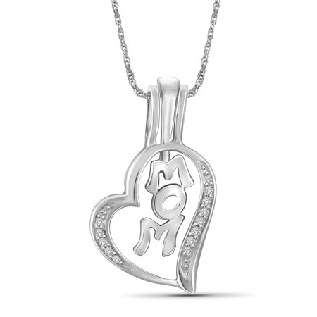 8975a7605 JewelersClub - 1/20 Carat T.W. White Diamond Sterling Silver Mom Heart  Pendant - Walmart.com