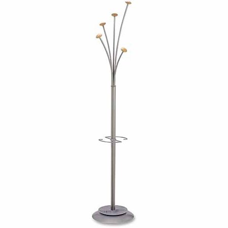 Alba 6' Festival Silver Tree Hook Coat and Umbrella Stand, 5 Hooks