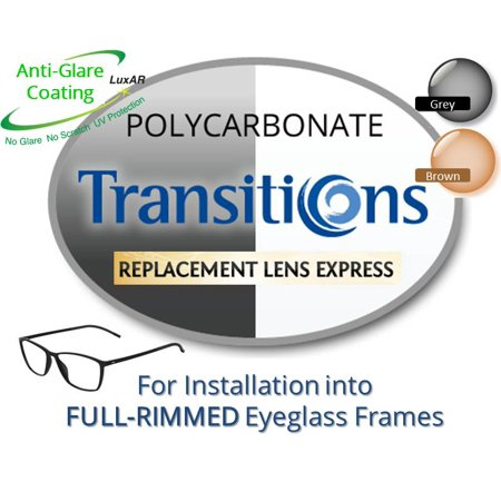 Single Vision Transitions Polycarbonate Prescription Eyeglass Lenses, Left and Right (One Pair), for installation into your own Full-Rimmed Frames (Anti-Scratch & Anti-Glare Coating (Replace Lenses In Frames)