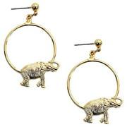 Gold-plated Hoop Earrings/ Elephant elephant & clip