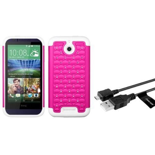 Insten Hot Pink/Solid White FullStar Hybrid Hard Dual Layer Case For HTC Desire 510 (+ Micro USB cable) (2-in-1 Accessory Bundle)
