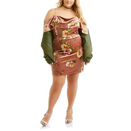 Juniors' Plus Marilyn Neckline Floral Print Velvet Bodycon Dress for $<!---->