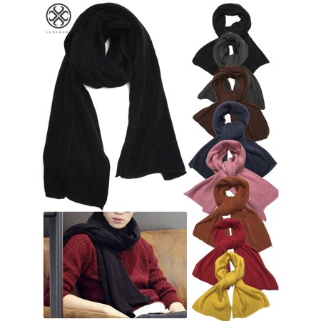 Luxtrada Large Soft Pure Cashmere Scarves Winter Warm Infinity Scarves Blanket Scarf Pure Color Windproof for Women Men (Black) Pure Cashmere Knit Scarf