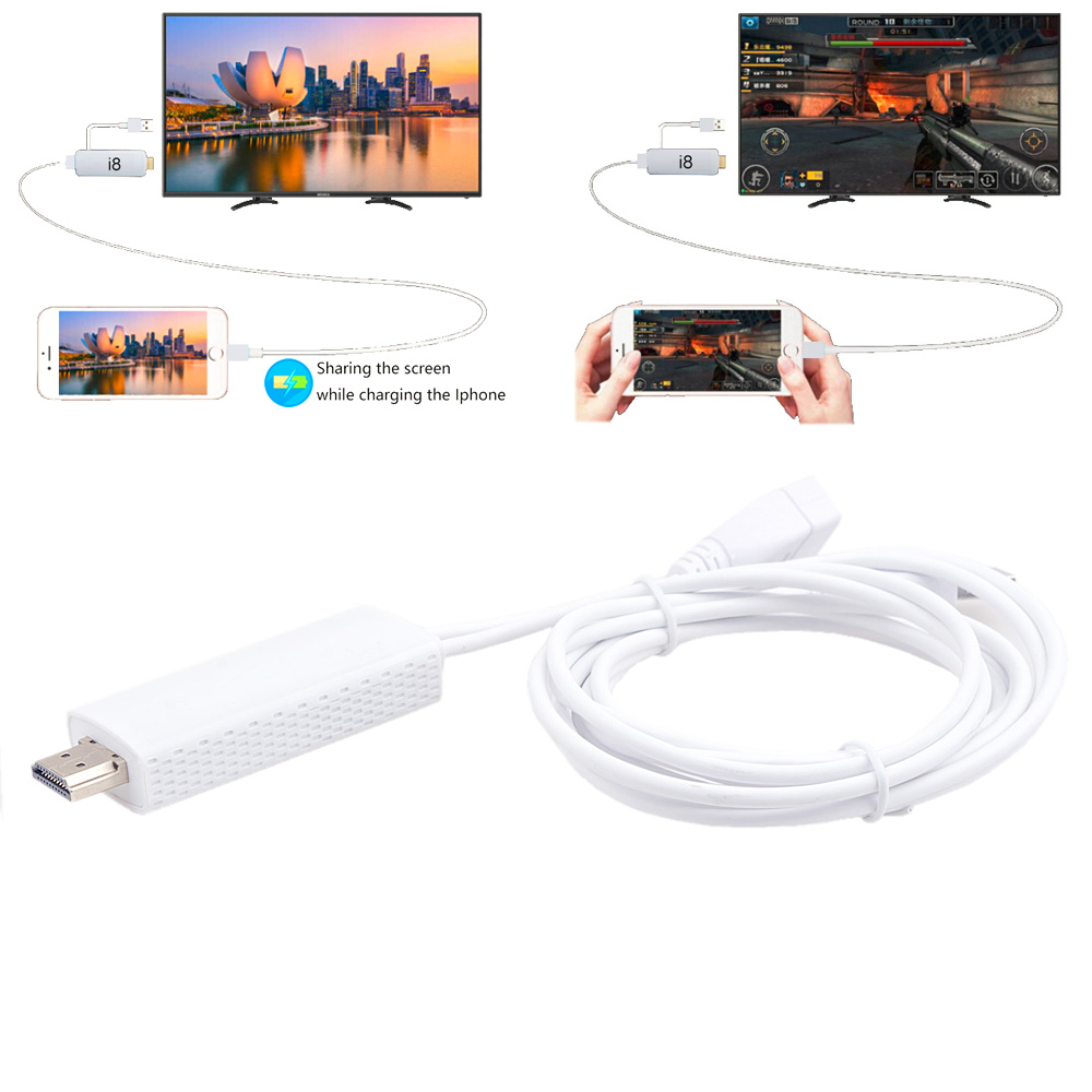 1080P i8 Digital HDMI HDTV AV Mirroring 2m Cable Adapter For Iphone 5 6 7 Plus Ipad by Ulink