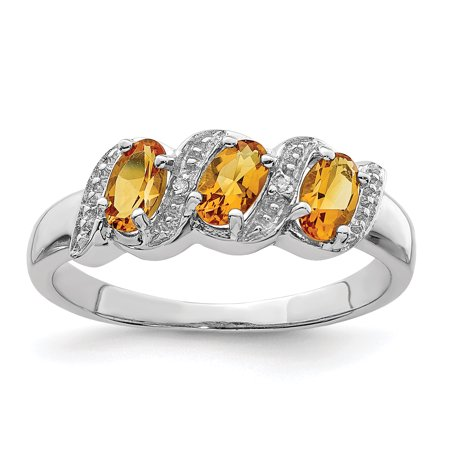 925 Sterling Silver Yellow Citrine Diamond Band Ring Size 6.00 Stone Gemstone Fine Jewelry Ideal Gifts For Women Gift Set From Heart