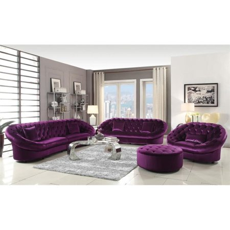 Coaster Rom 3 Piece Tufted Sofa Set In Purple