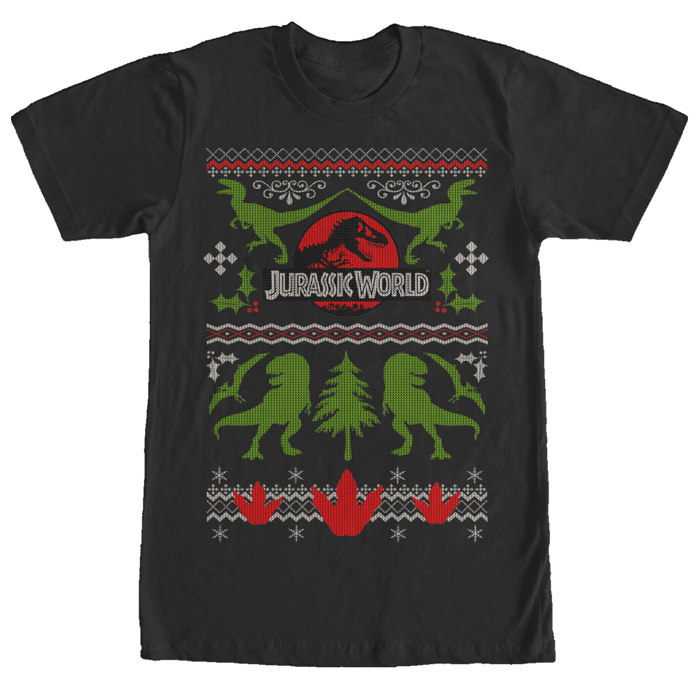 Jurassic World Ugly Christmas Sweater Print Mens Graphic T Shirt