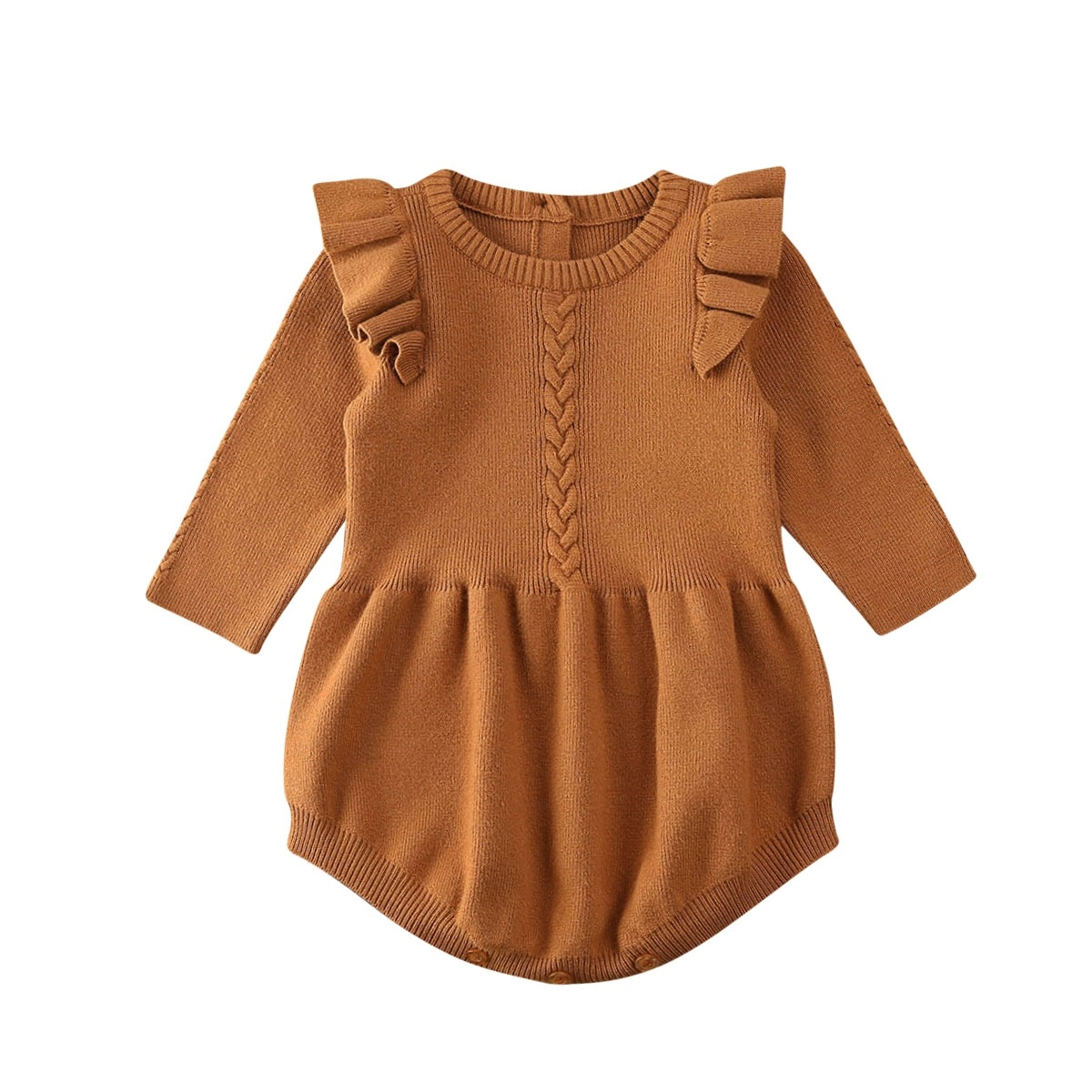 Toddler Baby Girls Ruffle Long Sleeves Knit Sweater Romper Casual Princess  Jumpsuit Fall/ Winter Clothes 8-8Y