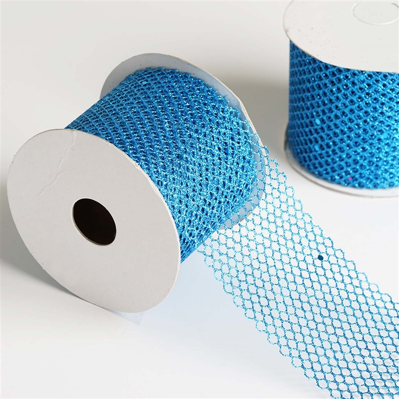 "10 Yards 2.5"" DIY Turquoise Glittery Hexagonal Mesh Ribbon For Craft Dress 2PK"