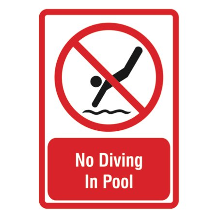 Diving Sign - No Diving In Pool Sign - Large Size Signs, 12x18