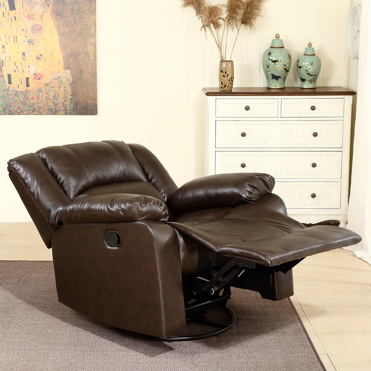 Swell Belleze Faux Leather Rocker Swivel Glider Recliner Living Room Chair Brown Gmtry Best Dining Table And Chair Ideas Images Gmtryco