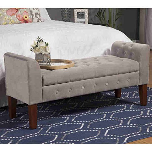 Homepop Dove Soft Touch Grey Velvet Fabric with Decorative Solid Wood Legs in Mid -Tone Brown Settee- Style Storage Bench