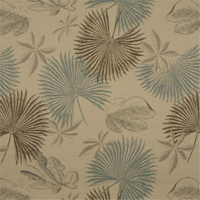 Designer Fabrics K0127A 54 inch Wide Tan, Brown And Teal Floral Leaves Woven Solution Dyed Indoor & Outdoor Upholstery