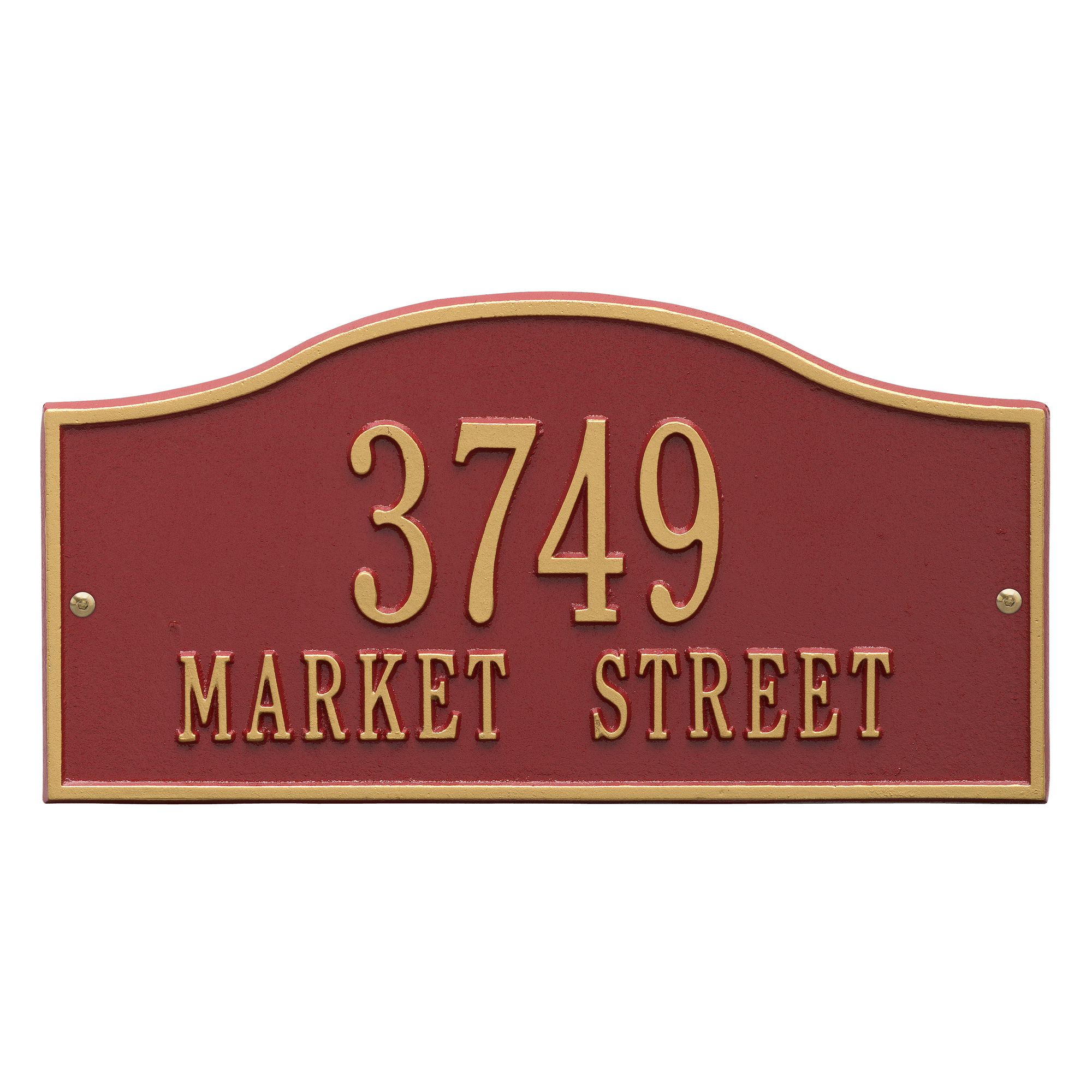 Personalized Whitehall Products Rolling Hills Standard Wall Address Plaque in Red/Gold
