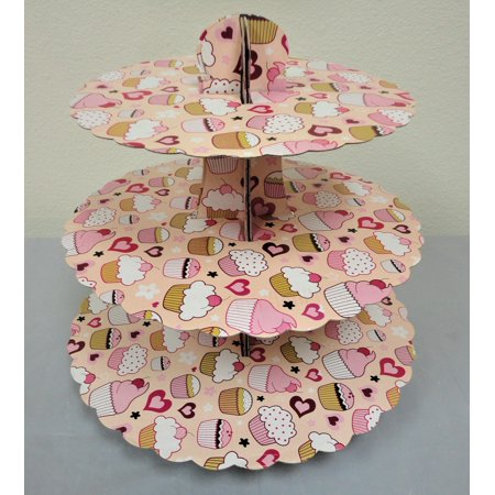 Charmed Pink/Peach Little Tea Party Cupcake Cardboard Cupcake Stand Holder; 13