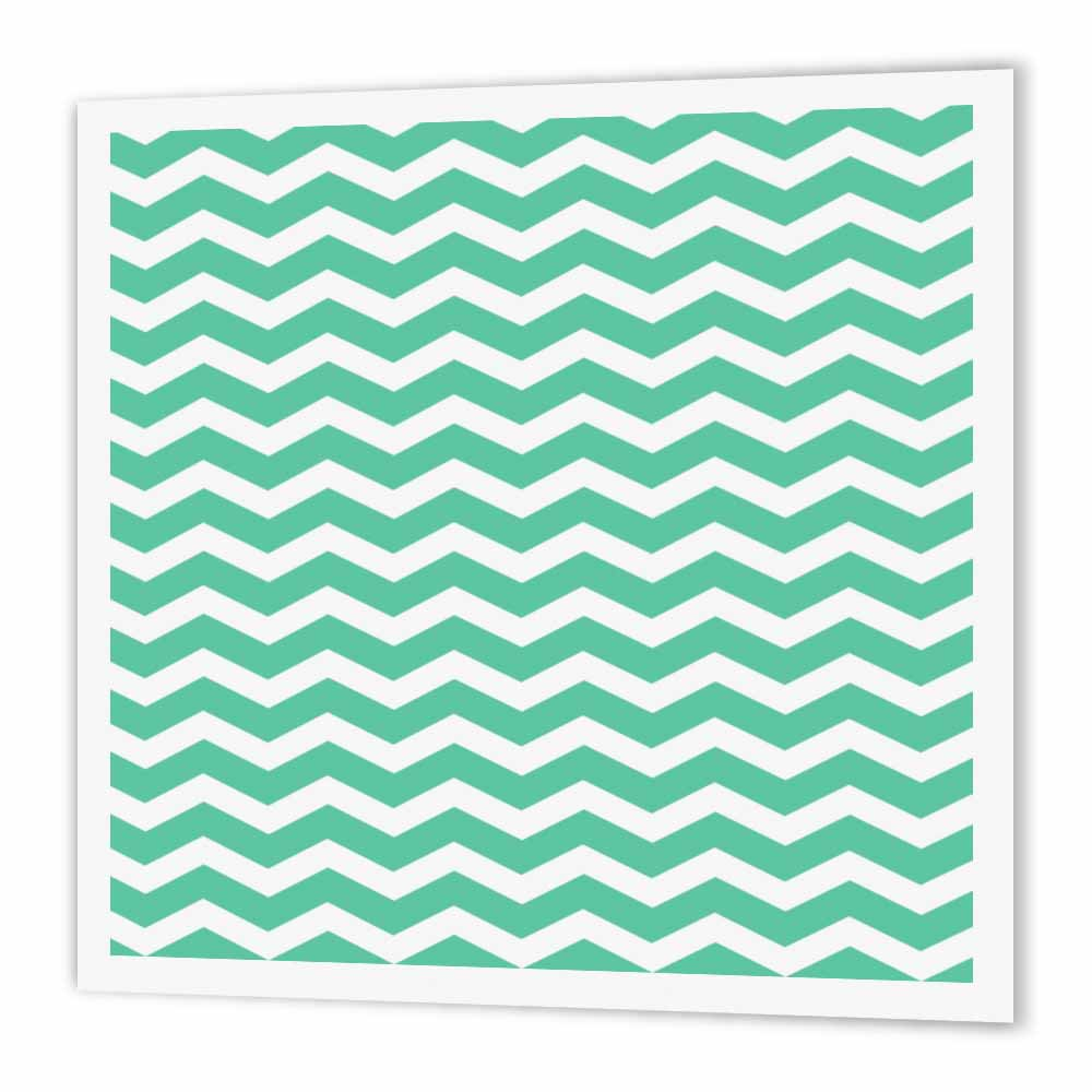 3dRose Aqua Blue Green and White Chevron Zig Zag Pattern aka Trendy Turquoise Teal, Iron On Heat Transfer, 8 by 8-inch, For White Material